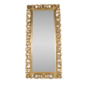 Tall Leaf Mirror Gold