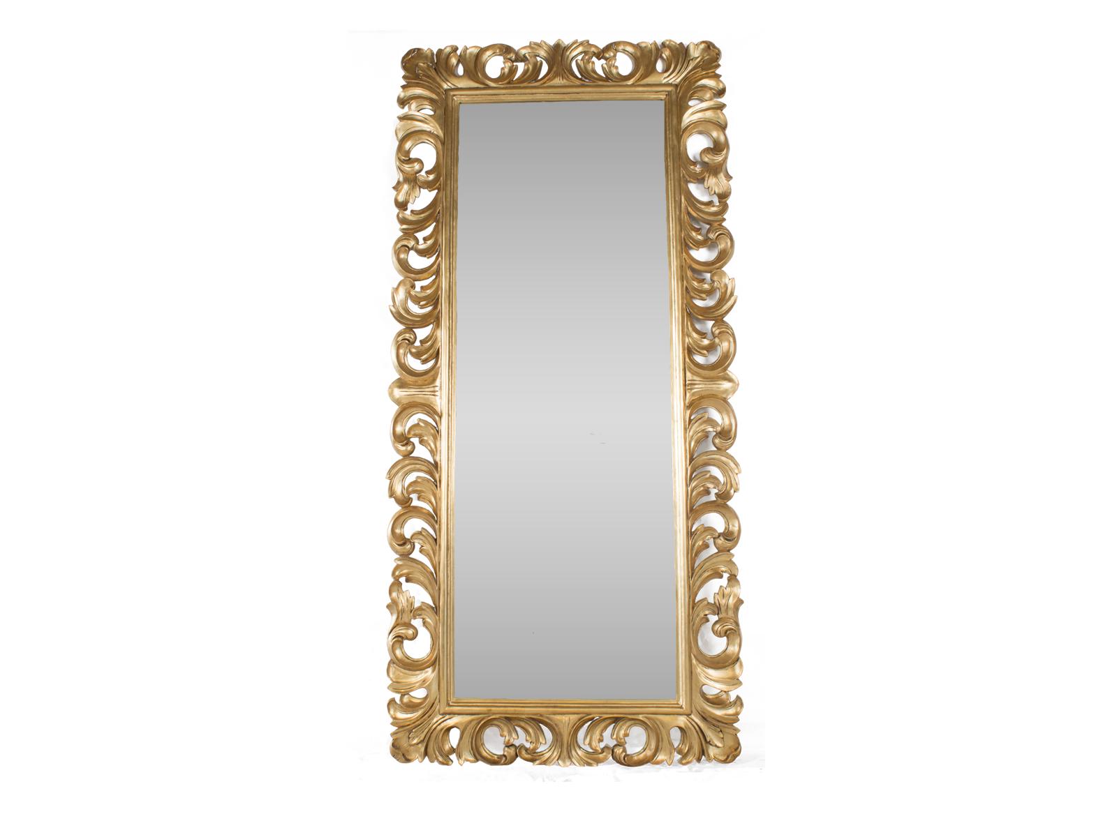Tall Leaf Mirror Gold
