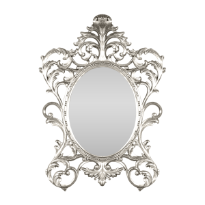Oval Baroque Mirror Silver