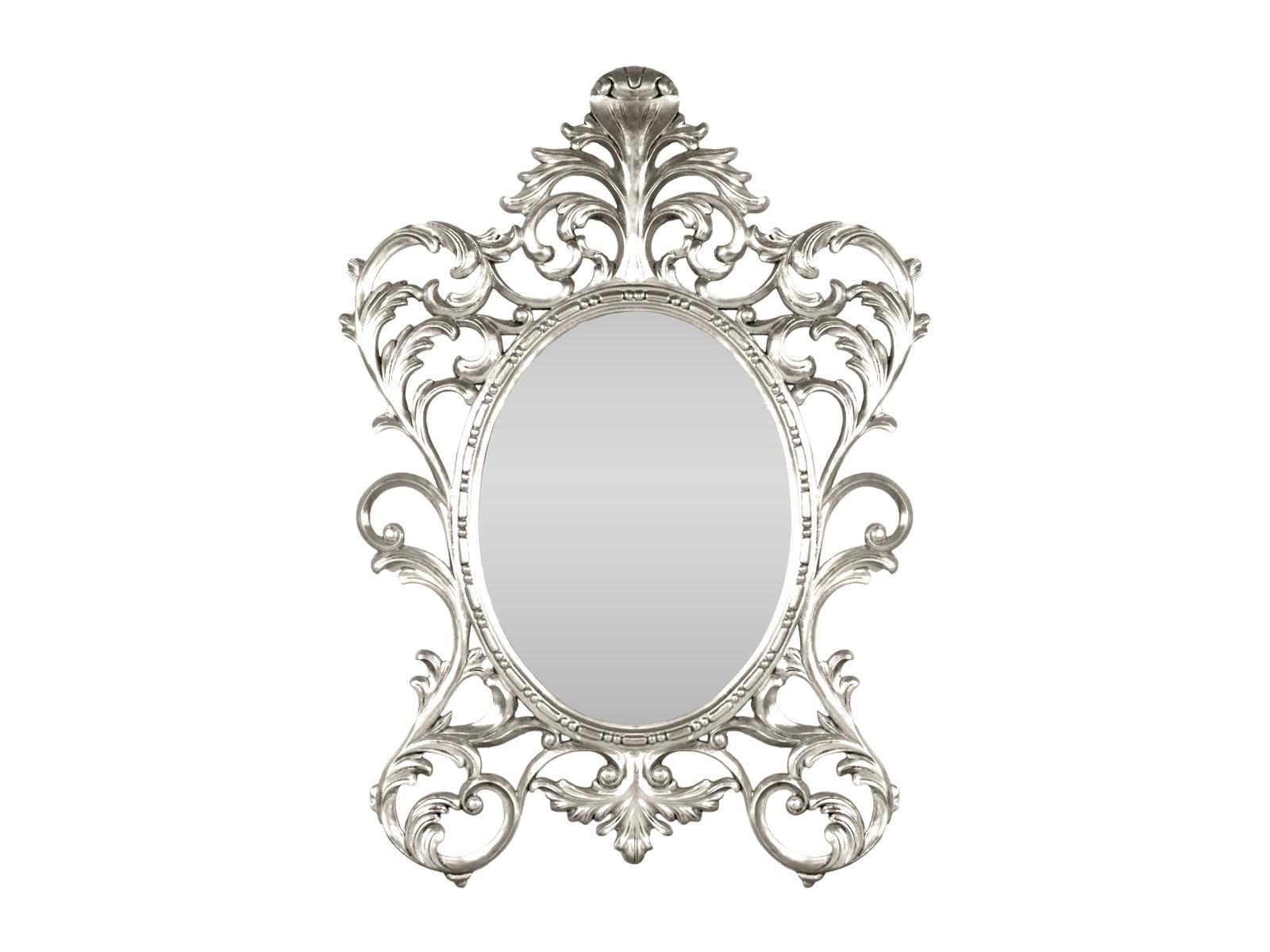 Oval Baroque Mirror Silver