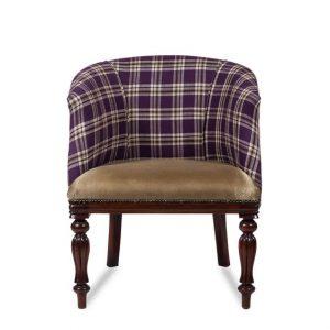 Victorian Tub Chair in Purple Tartan